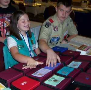 Scouts enjoying merit badge activities.